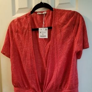 Zara coral red rust wrap top NWT New